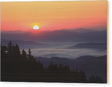 Wood Print featuring the photograph Blue Ridge Parkway Sea Of Clouds by Mountains to the Sea Photo