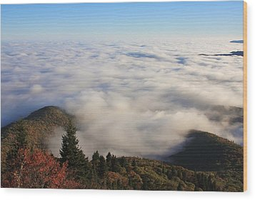 Blue Ridge Parkway Sea Of Clouds Near Graveyard Fields Wood Print by Mountains to the Sea Photo