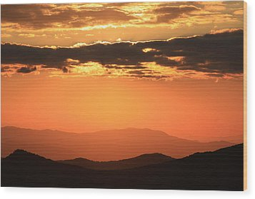 Blue Ridge Parkway Sunset-north Carolina Wood Print by Mountains to the Sea Photo