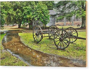 Blue Ridge Parkway Vintage Wagon In The Rain I Wood Print by Dan Carmichael