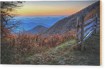 Blue Ridge Sunrise Wood Print by Jaki Miller