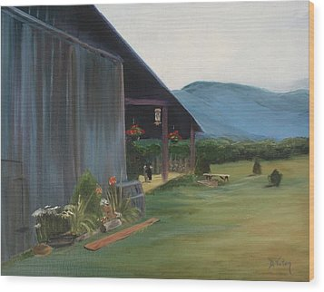 Blue Ridge Vineyard Wood Print by Donna Tuten