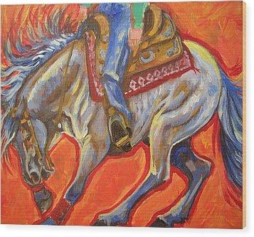 Blue Roan Reining Horse Spin Wood Print by Jenn Cunningham