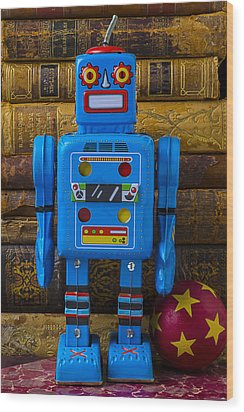 Blue Robot And Books Wood Print by Garry Gay