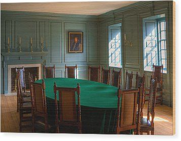 Wood Print featuring the photograph Blue Room 2 Wren Building by Jerry Gammon