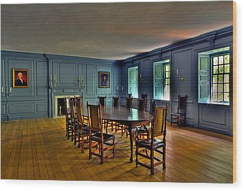 Wood Print featuring the photograph Blue Room Wren Building by Jerry Gammon