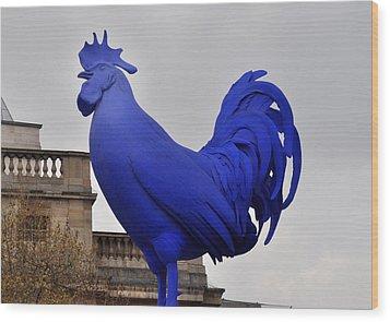 Blue Rooster In Trafalgar Square London Wood Print