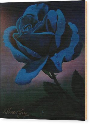 Blue Rose Wood Print by Blue Sky