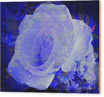 Blue Rose Wood Print by Kathie Chicoine