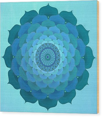 Blue Rose Mandala Wood Print by Vlatka Kelc