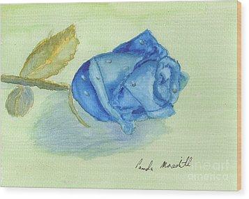 Blue Rose Wood Print by Pamela  Meredith