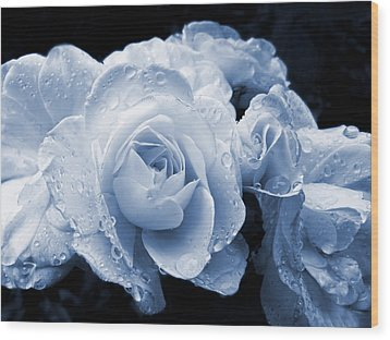 Blue Roses With Raindrops Wood Print by Jennie Marie Schell