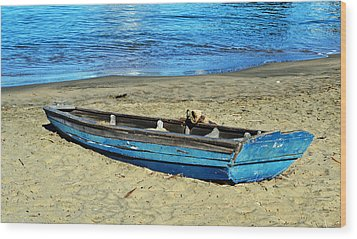 Blue Rowboat Wood Print by Holly Blunkall