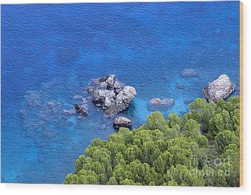 Blue Sea Wood Print by Boon Mee