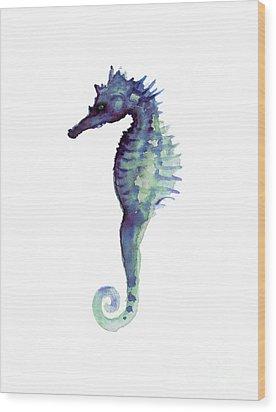 Blue Seahorse Wood Print