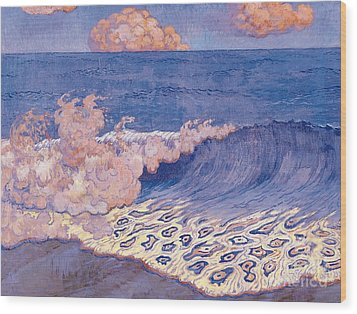 Blue Seascape Wave Effect Wood Print by Georges Lacombe