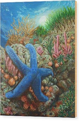 Blue Seastar Wood Print