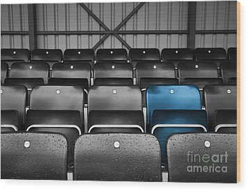 Blue Seat In The Football Stand Wood Print by Natalie Kinnear