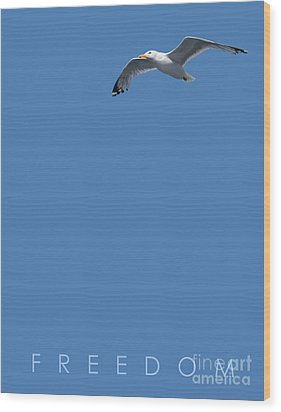 Wood Print featuring the drawing Blue Series 001 Freedom by Rob Snow