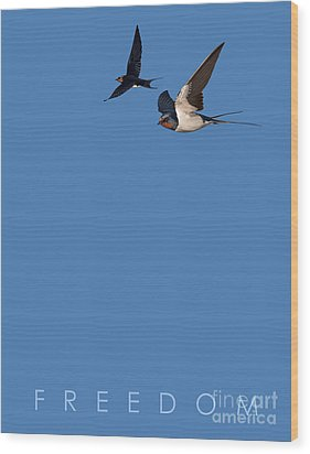 Wood Print featuring the drawing Blue Series 002 Freedom by Rob Snow