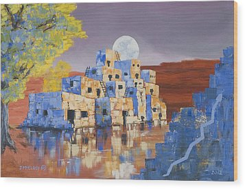Blue Serpent Pueblo Wood Print by Jerry McElroy