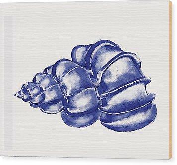 Blue Shell Wood Print by Jane Schnetlage