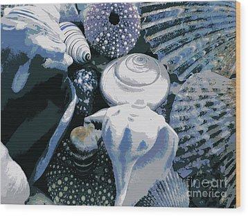 Blue Shells Wood Print by Janice Westerberg