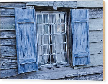 Blue Shutters Wood Print by Bonnie Fink