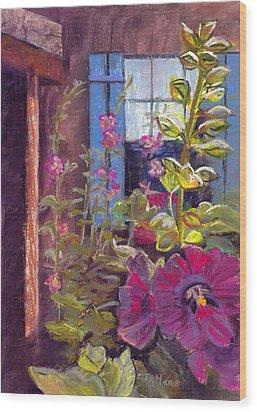 Blue Shutters Wood Print by Julie Maas