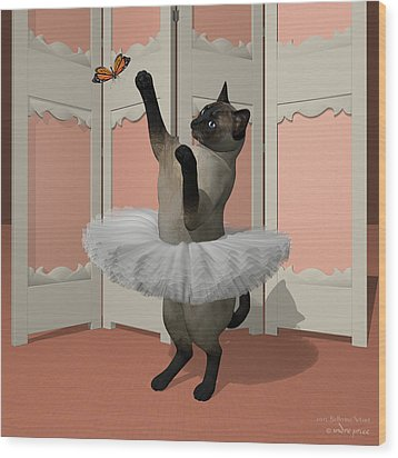 Blue Siamese Ballet Cat On Paw-te Wood Print by Andre Price