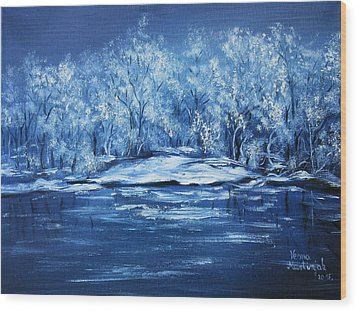 Wood Print featuring the painting Blue Silence by Vesna Martinjak