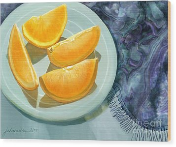 Blue Silk And Oranges Wood Print by Joan A Hamilton