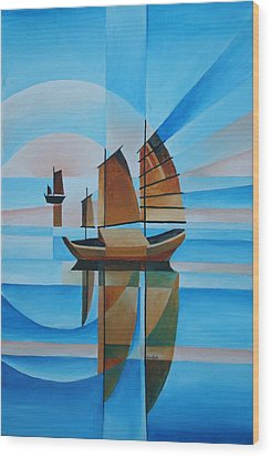 Wood Print featuring the painting Blue Skies And Cerulean Seas by Tracey Harrington-Simpson