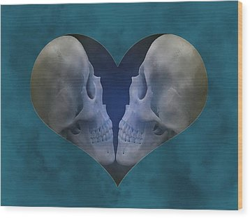 Blue Skull Love Wood Print by Diana Shively