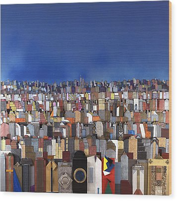 Blue Sky Big City Wood Print