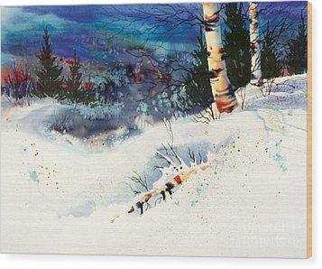 Blue Sky Birch Wood Print