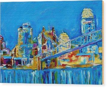 Blue Sky Cincinnati Wood Print by Kat Griffin
