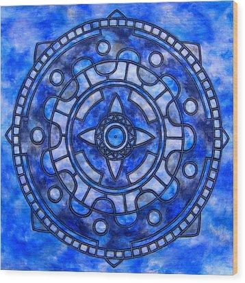 Blue Sky Mandala Wood Print by Vlatka Kelc