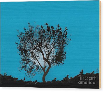 Wood Print featuring the drawing Blue Sky Moon by D Hackett