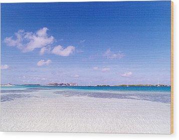 Blue Sky Over White Sandy Beach Wood Print