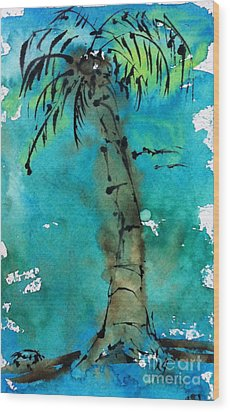 Blue Sky Palm Wood Print