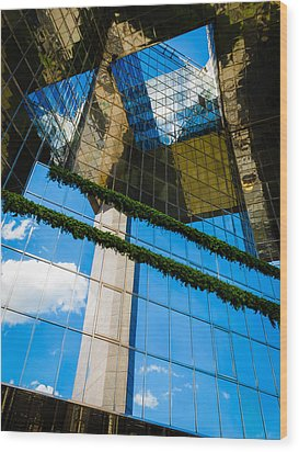 Wood Print featuring the photograph Blue Sky Reflections On A London Skyscraper by Peta Thames