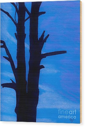 Wood Print featuring the drawing Blue Sky Tree by D Hackett
