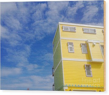 Blue Sky Yellow House Wood Print