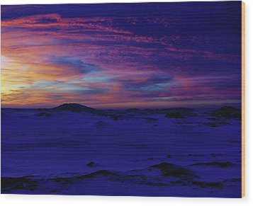 Blue Snow Sunset Wood Print by Kathi Mirto