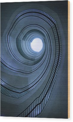 Blue Spiral Staircaise Wood Print by Jaroslaw Blaminsky