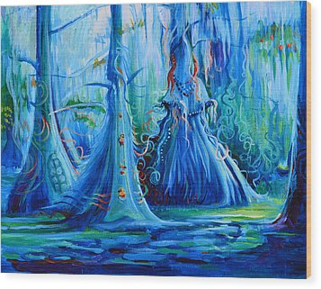 Blue Spirit Trees Wood Print by Janet Oh