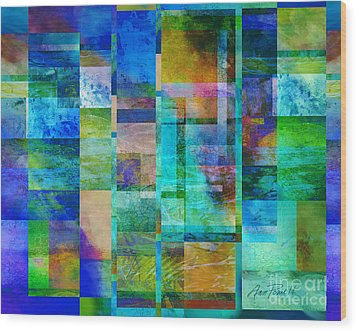 Blue Squares Abstract Art Wood Print by Ann Powell