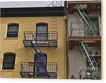 Wood Print featuring the photograph Blue Stairs Green Stairs  by Sherry Davis