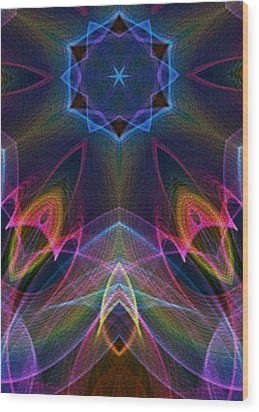 Blue Star Wood Print by Owlspook